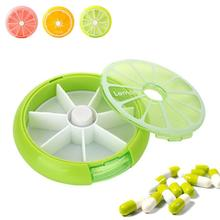 1Pc Plastic Travel Pill Case Mini Lemon Round Weekly Medicine Box Outdoor Cut Pills Storage Box Rotating Pillbox Organizer 3(China)