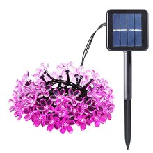 wedding decoration 50 LED Peach Flower Solar Powered Led lamps Blossom Led Christmas Lighting Lamps Solar Led String Lights(China)