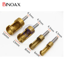 Binoax Titanium Coated Plug Cutter Counter Bored Set DIY 6-16mm 4 Piece Hole Wood Timber Drill Power Tool Drill Bit