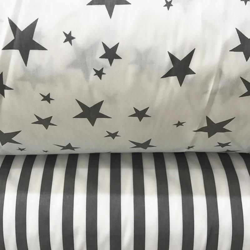 100% хлопок саржа ткань белый СЕРЫЙ звезды полоса ткани для DIY дети детская кровать постельное белье подушки домашнего декора ручной работы с...(China)