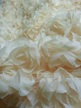 ivory chiffon rosette fabric, wedding backdrop, bridal fabric, chiffon rose fabric