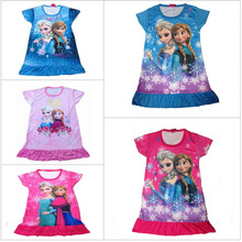 HOT 2015 Cartoon Princess Dress Elsa Clothes,Kids Nightgown,Girl's Sleepwear,Anna's Princess,Fashion NightDresses Free Shipping