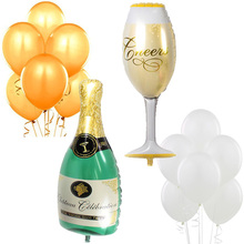 "18pcs/lot Giant 39"" Champagne Bottle Wine Glass Mylar Balloons Gold White 12"" Latex Party Bridal Shower Wedding Decoration"