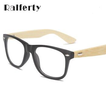Ralferty vintage retro rebite óculos de armação das mulheres dos homens de madeira de bambu miopia prescrição óptica óculos de armação com lente clara