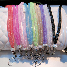 New Mobile Phone Lanyard Strap Luxury Nylon Grid Diamond Hanging Neck Rope Hanging Belt Straps Female Models