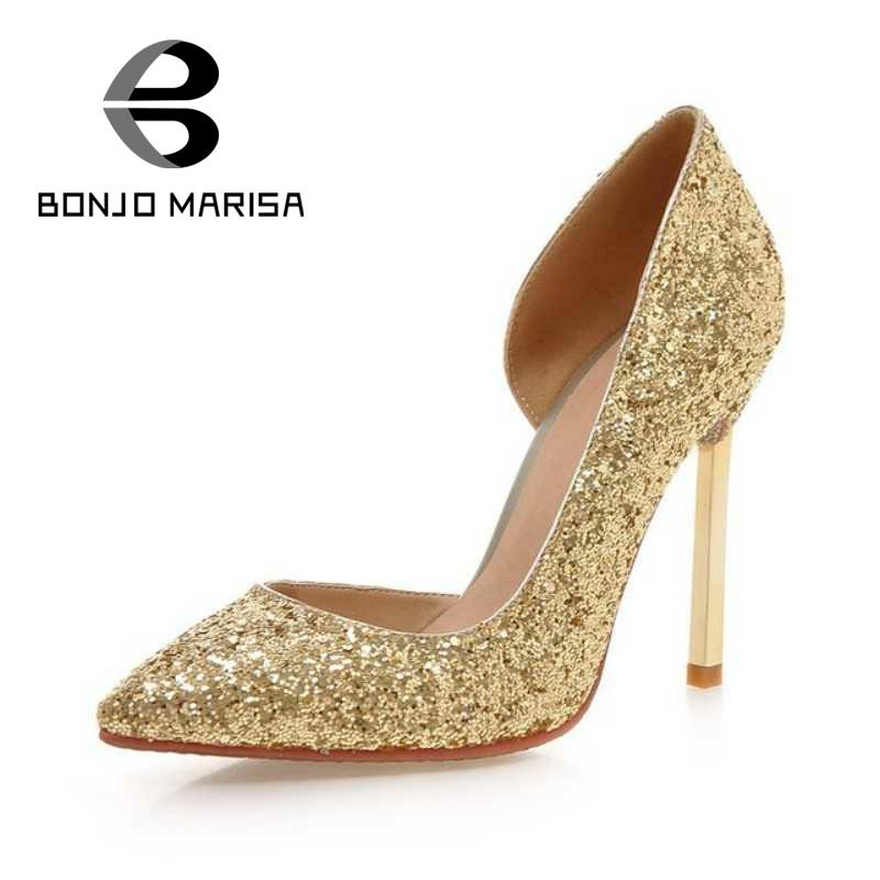 BONJOMARISA Big Size 34-43 Sexy Office Lady Wedding Shoes Shinning Glitter Shoes Fashion High Heels Pointed Toe Platform Pumps<br>