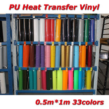 Free shipping 1Yard PU Heat transfer vinyl for T-shirts from 33 Colors for Cutter Plotter Video sticky ironon press film(China)