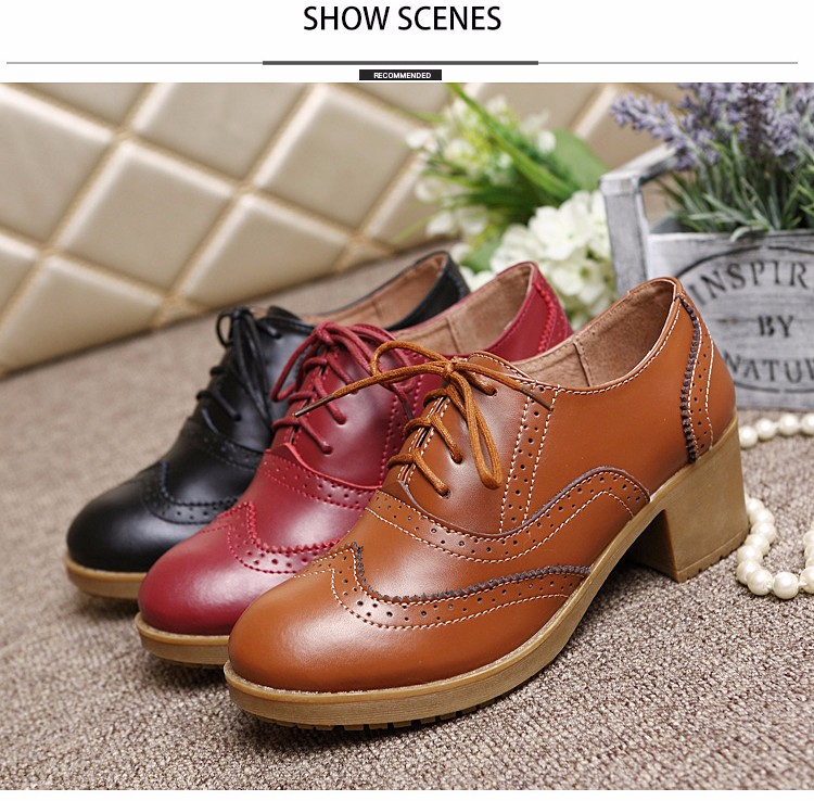 2016 Women Ankle Boots Female Solid Winter Shoes Lace Up Leather Boots For Woman Fashion Womens Oxford Boots Autumn Style<br><br>Aliexpress