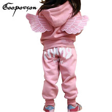 Girls Wing Tracksuit Pink Color Jacket & Pants Clothes Set Hooded Winter Outwear Clothes For Kids Children Full Sleeve Boys Set