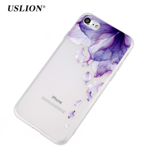 USLION Case For iPhone 7 6 6s Plus 3D Relief Flower Colorful Painted Phone Cases Transparent Capa Soft TPU Clear Back Cover(China)