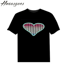 The Flash Heart Sound Activated Tshirt Light Up and down Flashing Equalizer music activated ELT-Shirt Unisex for Lover Party DJ(China)