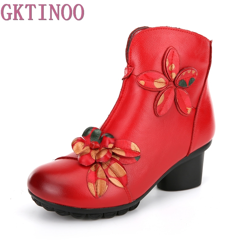 Autumn spring female ankle boots with flowers square high heels round toe platform genuine leather shoes women fashion boots<br>