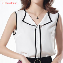 Women Summer Chiffon Blouses Shirts Lady Girls Elegant Slim Sleeveless Notched Collar Casual Blouses DF1022