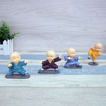 4PCS/Lot Mini Chinese Anime figure PVC Resin Doll Toy Shaolin Kung Fu Buddhist Monk Home Decor Gifts Crafts