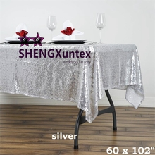 "60""*102"" Rectangular Sequin Table Cloth \ Cheap Wedding Tablecloth(China)"
