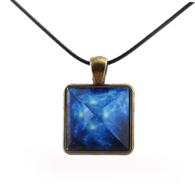 Original Blue Galaxy Pyramids Necklace Vintage Glowing Jewelry Love Pendant for Couples Lovers Glow In the Dark Women Men Gift(China)