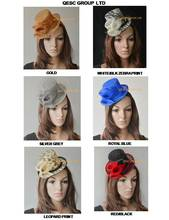 NEW Sinamay Fascinator Mini Hat for Kentucky Derby,Ascot Races,Melbourne,Wedding,Party.gold,royal,silver,leopard print,red.(China)