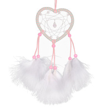 Pink Heart Shape car-styling Handmade Hanging Decoration Feather Dream Catcher Car Adornment(China)