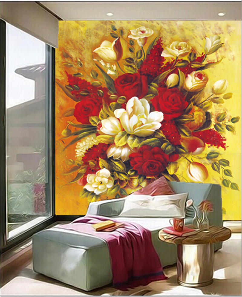 The custom 3D murals,Luxury oil paintings, flowers and vases papel de parede,living room sofa TV wall bedroom wall paper<br>
