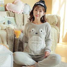 Autumn And Winter Flannel Pajamas Thickening Women Flannel Pajama Sets Sleepwear Female Girl Coral Fleece Pajamas Lovely(China)