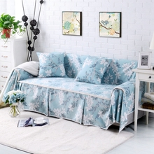SunnyRain Cotton Canvas Floral I Shaped Sofa Cover Sectional Sofa Covers Slipcover Couch Cover Table Cloth Machine Washable