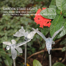 3pcs/set Solar LED Lawn Light Garden Stake lights Colorful Dragonfly / Butterfly / Bird Outdoor Waterproof Path lamp(China)