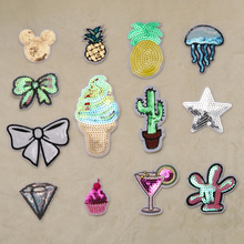 Colourful Sequins patch Hot melt adhesive clothing patches stripes applique embroidery Sequined DIY accessories(China)