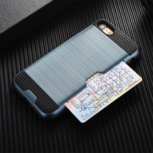 Luxury Armor Brush Phone Cases for iPhone 5S SE 5 5C 6 6S 7 Plus Silicone Plastic Credit Card Holder Wallet Back Cover Shell