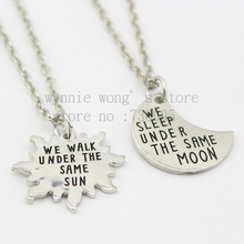 2015 Long Distance Relationship Couples Set Under the same Moon Under the same Sun Gift Long Distance Love- His and Her 2pcs/set(China)