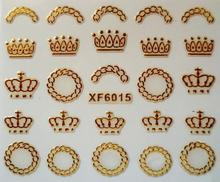 Water Transfer Nails Art Sticker Beautiful 3D gold Crown design girl and women manicure tools Nail Wraps Decals XF6015