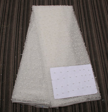 2016 Latest African French Lace Fabric High Quality African Tulle Lace with pearls Fabric For Wedding in White Color