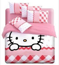 pink hello kitty plaid print bedding set girl's duvet covers sheets twin full queen king size bed linens bedclothes 4-5 pieces