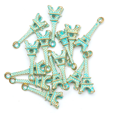 30pcs/lot Vintage Green and Gold Pendant Tibetan Silver Retro Eiffel Tower Charm  For Jewelry Making