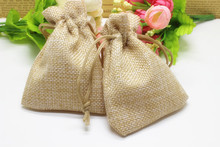 50pcs/lot 7*9cm,natural colour Jute Bag Drawstring Gift Bag Incense Storage Linen Bag Cosmetic Jewel Accessories Packaging Bag