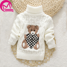 Autumn Winter Baby Girl Sweater Pullover Cartoon Cute Bear Sweaters Knitwear Children Clothes Kids Turtleneck Outerwear