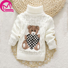 Autumn Winter Baby Girl Sweater Pullover Cartoon Cute Bear Sweaters Knitwear Children Pullover Clothes Kids Turtleneck Outerwear(China)