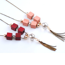Square Wood & Tassel Pendant Necklace Long Necklace Women Sweater Chain Jewelry Accessories For Party & Banquet Trendy Jewellery(China)