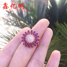 Fashion and personality flowers form 925 silver inlaid natural ruby ring female 2 x4 mm horse item on sale