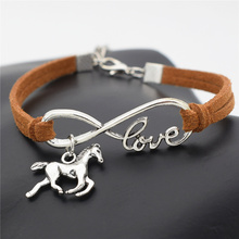 2016 New Fashion Silver Love Horse Charm Infinity Bracelets Black Leather Cords Wrap Bangle for Women Jewelry Gift for Christmas