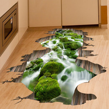 2017 Hot 3D Animal World Cute Floor wall Stickers Novelty Living Room Decal Removable False window Waterproof Home Decor