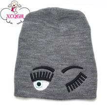XCQGH Fashion Eye Pattern Autumn Winer Cap Hat 2017 Knitted Warm Baby Hat Kids Boy Cap Newborn Baby Girl Hats 6 Colors 2-6T