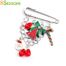 8SEASONS X'mas Brooch Pins Chain Santa Claus Charm Pendants Christmas Gift Bell Sugar Stick Drop Men Women Jewelry Trendy, 1 PC(China)
