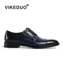 VIKEDUO Brand 2017 Fashion Handmade Mens Genuine Leather Monk Strap Shoes Luxury Party Wedding Hand Painted Footwear Shoe(China)