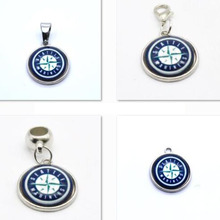 2017 Fashion Pendant MLB Seattle Mariners Charm Big Hole Beads Pendant Fit Bracelets Necklaces Jewelry Baseball Fans(China)