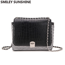 SMILEY SUNSHINE brand alligator black shoulder bags small flap women messenger bags luxury handbags designer crossbody bags(China)