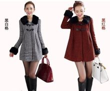Autumn Woolen Overcoat Women Long Coat Skirted Outerwear Oversized Fur Collar Wadded Jacket Plus Size Houndstooth Dress Coat