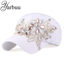 [YARBUU]Brand Baseball Cap with Rhinestone women casual snapback hat for flower new fashion solid summer sun lady hats wholesale(China)