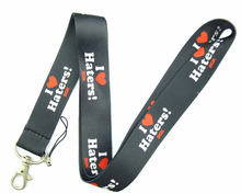 Lot 10Pcs I Love Haters Cartoon Mobile Cell Phone Lanyard Neck Straps Party Gifts A81