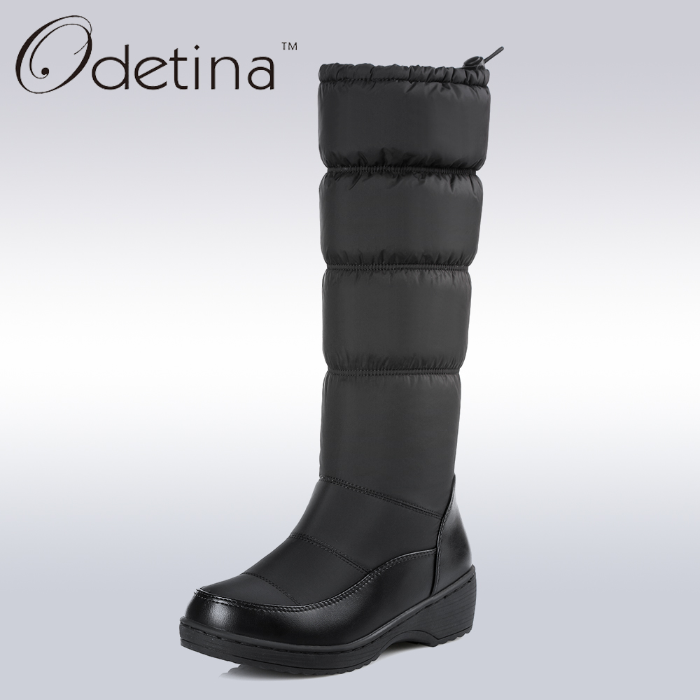 Odetina Waterproof Snow Boots Large Size Women Knee High Boots Flat Heels Handmade 2017 Winter Boots Women Fashion Shoes Brand<br>