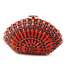 Buy Ladies Red Clutch Bag Best-Selling Crystal Beaded Purse Bags UK Free Shipping with Box Wholesale Cheap Clutches for Weddings(China)